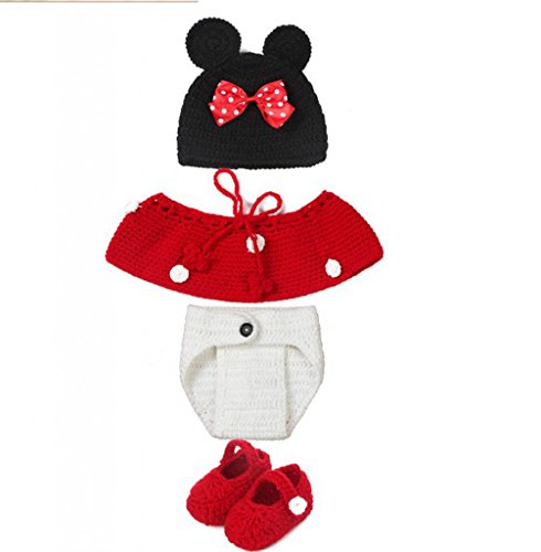 AllHeartDesires® Baby Girl Crochet Minnie Mouse Hat Costume Outfit Photography Prop