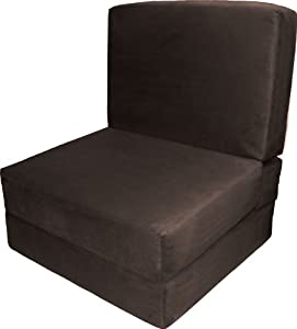 Epic Furnishings Nomad Adult Foam Sleeper Chair Bed, Suede Chocolate Brown