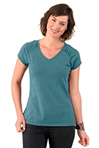 Fair Indigo Gathered V-Neck Fair Trade Organic Tee