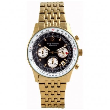 Krug-Baumen Mens Airmaster Diamond Chronograph Black Gold Watch