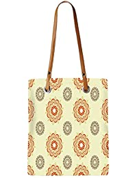 Snoogg Multiple Design Cream Pattern Womens Digitally Printed Utility Tote Bag Handbag Made Of Poly Canvas With...