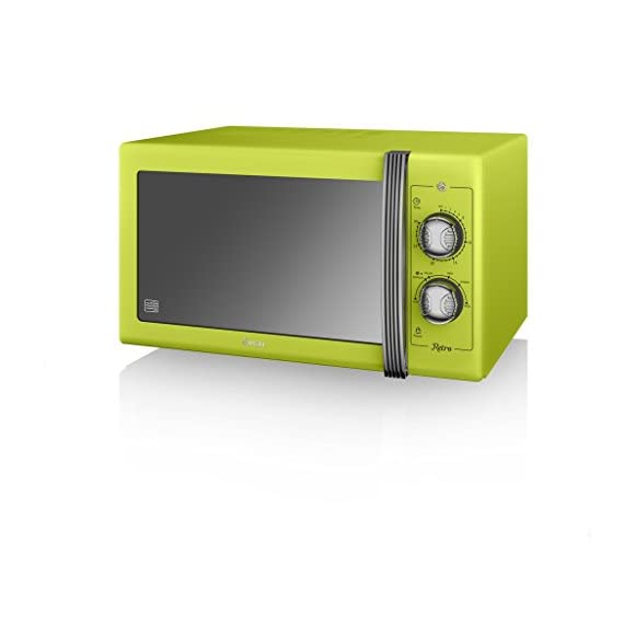 SWAN Retro Manual Microwave, 25 Litre, 900 W, Lime Green