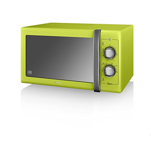 SWAN Retro Manual Microwave, 25 Litre, 900 W, Lime Green