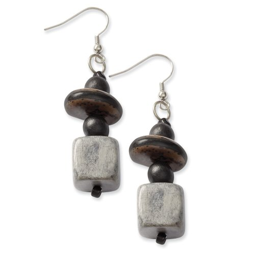 Silver-Tone Anipay Seed & Natural Wood 2.75in Dangle Earrings