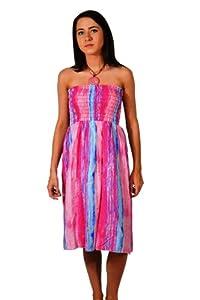 Print: Tie Dye Print   Material: Polyester  Dress Length: Knee Length   Dress Silhouette: Sundress   Shoulder: Halter   Embellishments: Beaded  Shirred   Size Category: Adult  Machine Wash