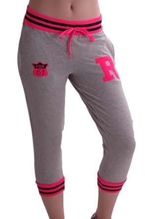 EyeCatch - Damen Capri Trainingshose Jogginghose grau Pink, Gr. S