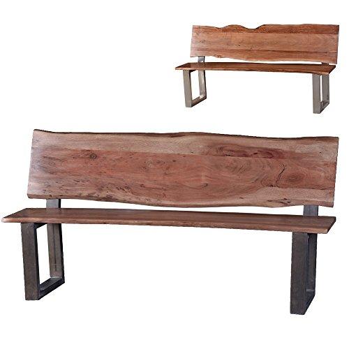 Sitzbank-mit-Lehne-Hector-Gartenbank-aus-Massivholz-Holzbank-2-Farben-Akazie-Formfrei-Essbank-wetterfest-robust-geeignet-fr-Flur-oder-Garderobe-Massivholzmbel-hohe-Qualitt-Grau-beschichtet