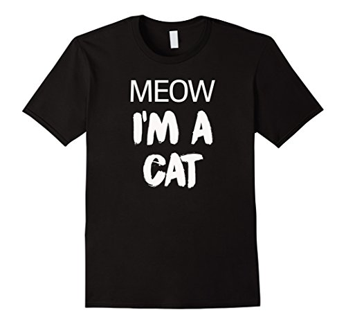 [Men's Meow I'm A Cat Funny Cat Lover Halloween Costume T-Shirt Tee 2XL Black] (Dark Chocolate M&m Costume)