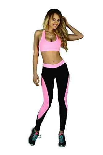 Le donne dicono 2 pezzi Pantaloni esercizio collant vestito di sport di yoga leggings rosso-S