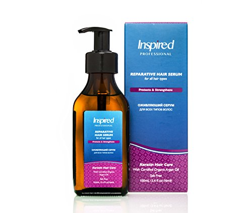 Inspired Professional Reparative Keratin Hair Serum Leave In Premium Treatment & Conditioner Salt Free with Certified Moroccan Organic Argan Oil for Healthy Hair No greasy residues 100 ml / 3.4 fl.oz (Omega Shine Hair Elixir compare prices)