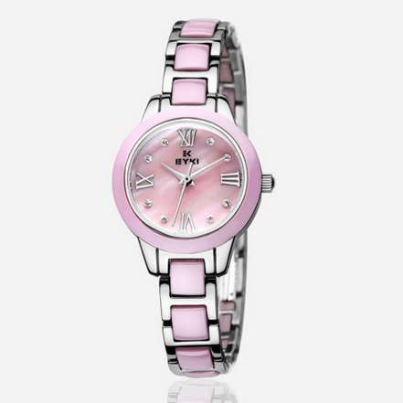 Ufingo-Nice Cute Rhinestone Waterproof Ceramic Quartz Watch For Women/Ladies/Girls-Pink
