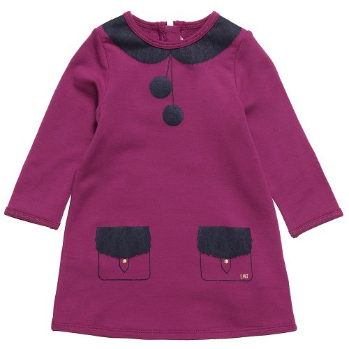 Little Marc Jacobs Tromp L'Oeil Fleece Dress In Iris-12Mo