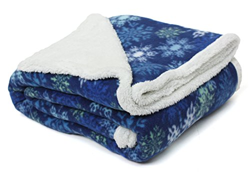 Holiday Winter Snowflake Sherpa Fleece Throw, 50-Inch by 60-Inch