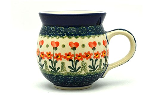 Polish Pottery Mug - 11 oz. Bubble - Peach Spring Daisy