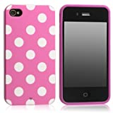 SPRAWL@ New Fashion Design Soft Silicone Skin Case Cover Shell for mobilephone Apple Iphone 4 4S 4G-dot pink/white