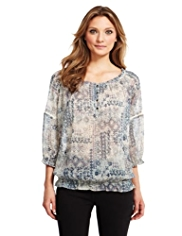 Indigo Collection Patchwork Print Blouse