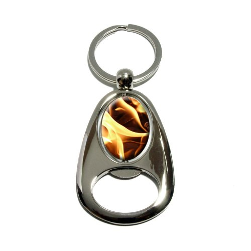 Bbq Barbecue Charcoals Coals Fire Flame - Chrome Plated Metal Spinning Oval Design Bottle Opener Keychain Key Ring