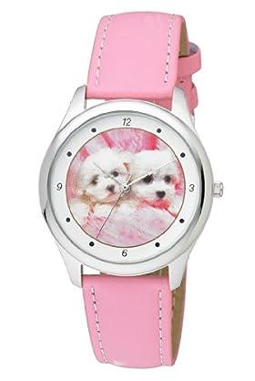 Round Face Dog Design Strap Watch