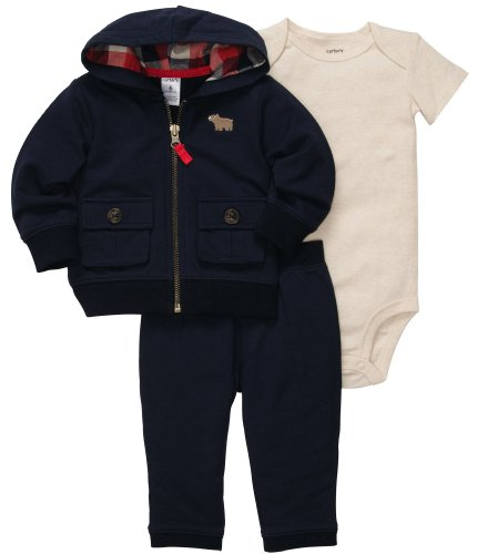 Carter'S Baby Boys' 3-Pc Cardigan Set - Navy - 9 Months front-217739