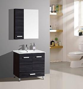 Ensemble meuble de salle de bain - Berlin Wengé - M-70293/1191 - Armoire à glace - meuble sous vasque - vasque