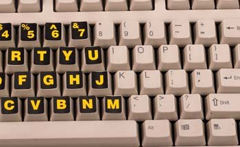 Stick On Keyboard Labels, Yellow On Black