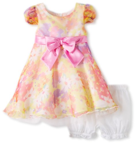 Young Hearts Baby-Girls Infant 2 Piece Floral Printed Dress With Bow Set, Yellow, 18 Months