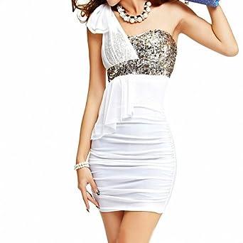 DJT See-Through Sexy Robe Epaule Simple Sans Manche Haute Taille Avec Paillette Parfait Pour Femme Taille Unique Blanc