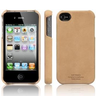 SPIGEN SGP アイフォン 4 / 4S ケース レザーグリップ  VINTAGE BROWN  液晶保護シートセット 本革 for iPhone 4 / 4S  SGP06836