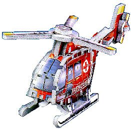Helicopter 3D jigsaw puzzle with 76 pieces made by Wrebbit Puzz3D - 1