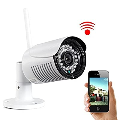 UOKOO Bullet camera-720P HD IP Camera Weatherproof Surveillance Network Camera with Night Vision-Motion Detection Outdoor Security Camera with Built-in 8G SD Card H03