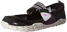 Speedo Women\'s Offshore Strap Amphibious Water Shoe, Black/Purple, 9 M US