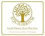 Equilibrium Gold Detox Foot Patches - 100 Pads = 50 Day Supply - Detoxify While You Sleep + £4.99 FREE Gift