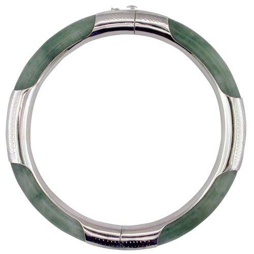 925 Sterling Silver Ladies Green Jade Round Hinged