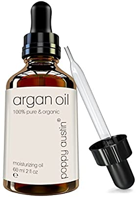 Pure Argan Oil for Hair & Skin by Poppy Austin - The Finest, Most Exquisite, Triple Purified Moroccan Argan Oil - Organic, Cold Pressed & Responsibly Sourced Argon - HUGE 2 oz (3 Months Supply)