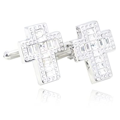 Digabi Platinum Plated Cross Crystal Cufflniks with Gift Box
