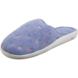 Isotoner Women\'s Terry Embroidered Scalloped Clog, Periwinkle, (LG)8.5-9 M US
