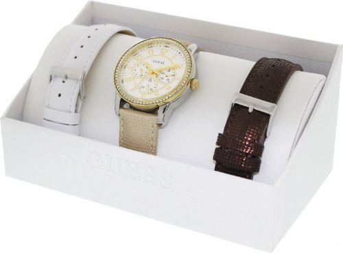 Guess U0093L2 white multi-function dial interchangeable leather strap women watch NEW