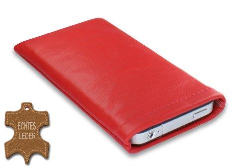 Janney [m]BAG rouge Handytasche Handyhülle aus feinstem Nappaleder für dein Anycool iPro Q70 mit Display Reinigungsfunktion durch Microfaserinnenfutter