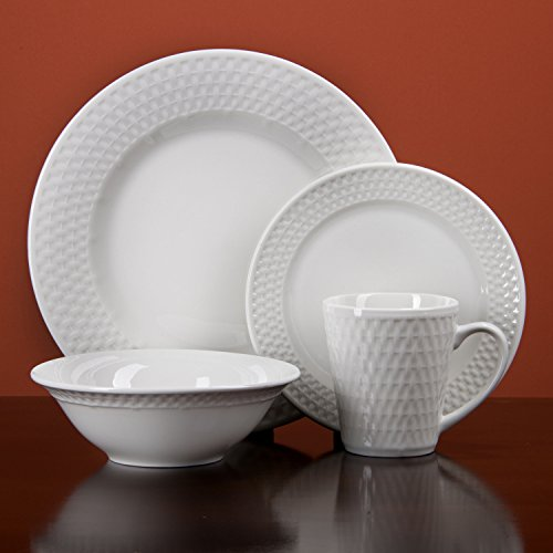 Oneida Satin Weave 32-piece Dinnerware Service for 8 (Porcelain Service For 12 compare prices)