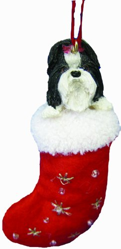"""Shih Tzu Christmas Stocking Ornament with """"Santa's Little Pals"""" Hand Painted and Stitched Detail"""
