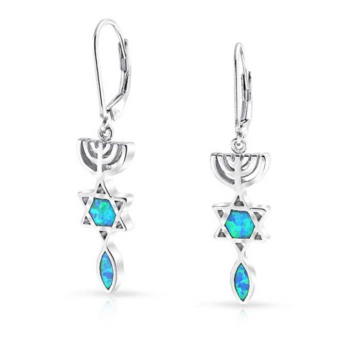 Bling jewelry 925 silver synthetic blue opal star of david Q home decor marina mall