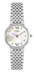 Rotary Women's Quartz Watch with Mother of Pearl Dial Analogue Display and Silver Stainless Steel Bracelet LB00496/41