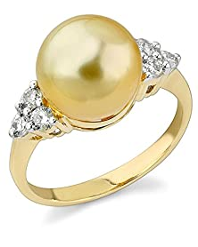 buy 10Mm Golden South Sea Cultured Pearl & Diamond Sea Breeze Ring In 14K Gold