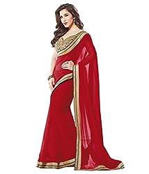 S4S Women's Georgette Sari (Red)
