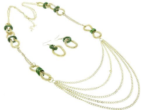 NECKLACE AND EARRING SET METAL METAL CHAIN GREEN Fashion Jewelry Costume Jewelry fashion accessory Beautiful Charms