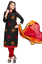 Craftliva Black And Red Embroidery Cotton Dresss Material