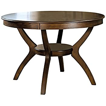 Coaster Home FurnishingsNelms Classic Modern Transitional Round Dining Table with Storage Shelf - Deep Brown