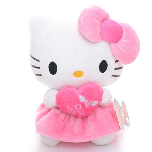 Cute Baby Pink Plush Hello Kitty Love Heart Angel Wing Dresses Collection Classic Toy Doll 7'' For Lover Friend's Gift New #LN