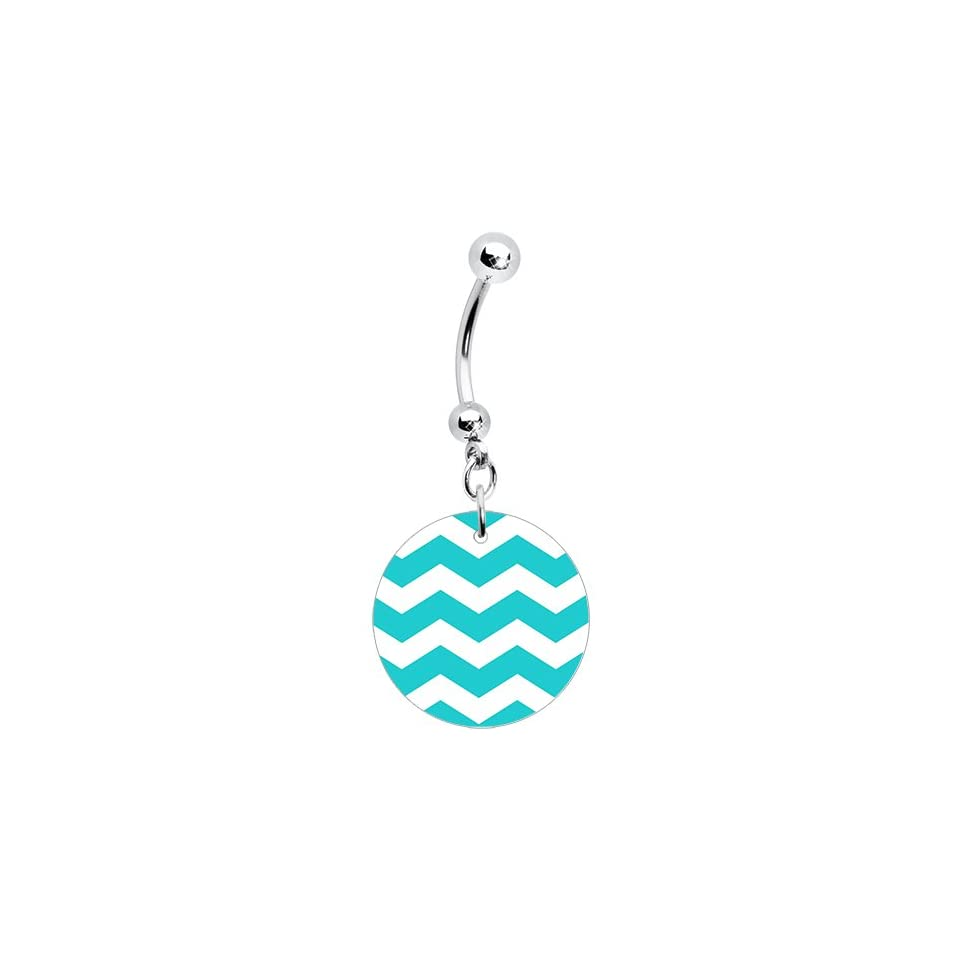 Turquoise White Chevron Dangle Belly Ring Body Piercing Rings Jewelry