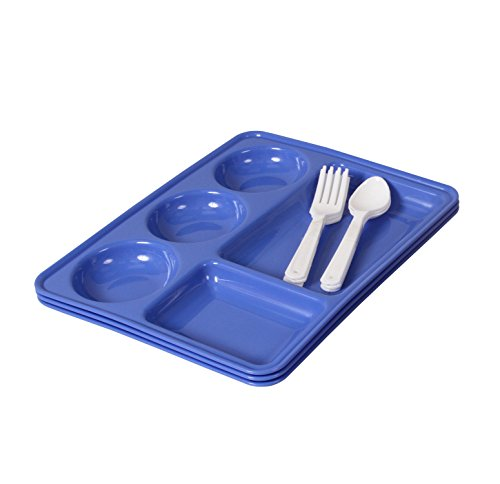 Ruchi Five Partition Square Plates With Fork and Spoon, 9 Pieces, Blue